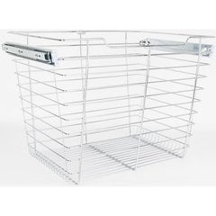 14 Inch D x 17 Inch W x 17 Inch H Closet Pullout Basket - Polished Chrome