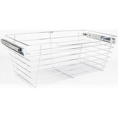 14 Inch D x 23 Inch W x 11 Inch H Closet Pullout Basket - Polished Chrome