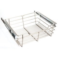 14 Inch D x 23 Inch W x 11 Inch H Closet Pullout Basket - Satin Nickel