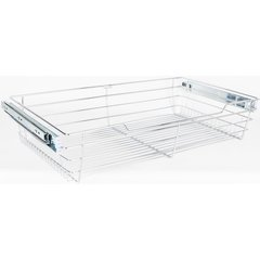 14 Inch D x 23 Inch W x 6 Inch H Closet Pullout Basket - Polished Chrome