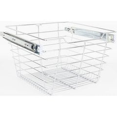16 Inch D x 17 Inch W x 11 Inch H Closet Pullout Basket - Polished Chrome