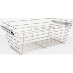 16 Inch D x 23 Inch W x 11 Inch H Closet Pullout Basket - Satin Nickel