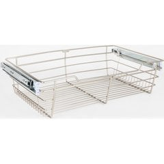16 Inch D x 23 Inch W x 6 Inch H Closet Pullout Basket - Satin Nickel