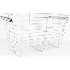 16 Inch D x 29 Inch W x 17 Inch H Closet Pullout Basket - Polished Chrome