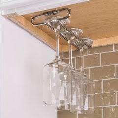 Polished Chrome Under Cabinet Stemware Rack