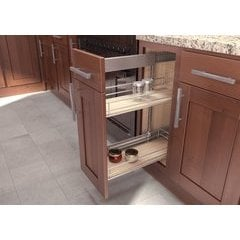 19.75 Inch Sub Side Pullout Pantry with 9 Inch Basket - Scalea Maple Silver