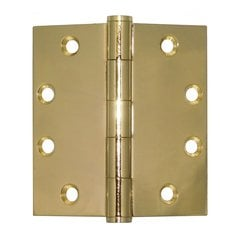 Mort. Heavy Ball Bearing Hinge 4-1/2 inch x 4-1/2 inch Bright Brass