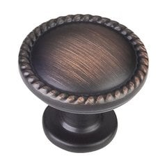 Lindos 1-1/4 Inch Diameter Dark Brushed Antique Copper Cabinet Knob