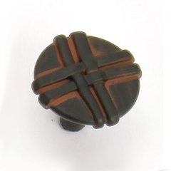 Lineage 1-3/8 Inch Diameter Black With Terra Cotta Wash Cabinet Knob