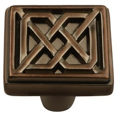Celtic Square Knob 1-1/4 inch Diameter Refined Bronze