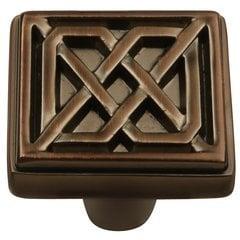 """Celtic Square Knob 1-1/4"""" Dia Refined Bronze"""