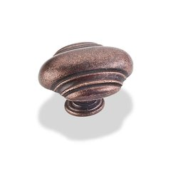 Amsden 1-5/8 Inch Diameter Dark Antique Copper Machined Cabinet Knob