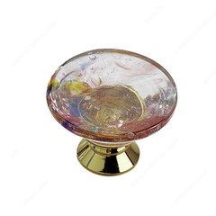 Classic Glass 1-3/16 Inch Diameter Brass,Harlequin Pink Cabinet Knob