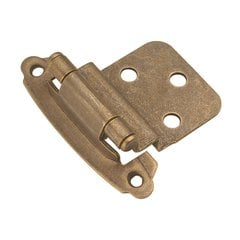3/8 inch Inset Surface Hinge Pair Windover Antique Self Close <small>(#P243-WOA)</small>