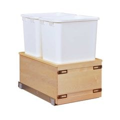 Double Trash Pullout 50 Quart Wood
