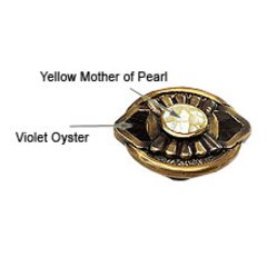 Heirloom Treasures 1-11/16 Inch Diameter Antique Brass/Mother of Pearl/Violet Oyster Cabinet Knob