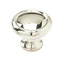 Country 1-1/4 Inch Diameter Polished Nickel Cabinet Knob