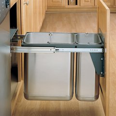 Rev-A-Shelf Double Trash Pullout 30 Litre-Stainless Steel 8-785-30-DM2SS