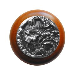 Floral 1-1/2 Inch Diameter Antique Pewter Cabinet Knob <small>(#NHW-704C-AP)</small>
