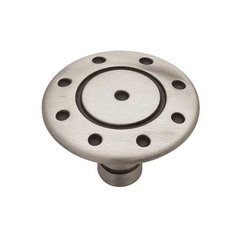 Circles & Scrolls 1-3/8 Inch Diameter Brushed Satin Pewter Cabinet Knob