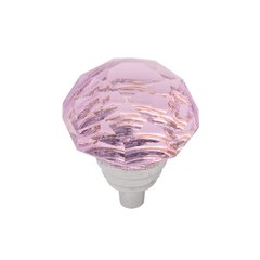 "Gemstone Knob 1-1/4"" Dia Pink Glass & Chrome"