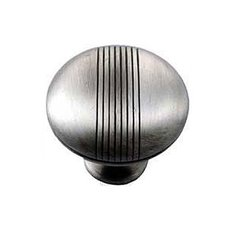 Striped 1-1/2 Inch Diameter Satin Antique Nickel Cabinet Knob