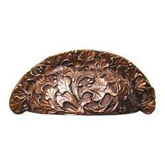 Floral 3 Inch Center to Center Antique Copper Cabinet Cup Pull