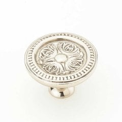 Eastlake Inspirations 1-1/2 Inch Diameter White Brass Cabinet Knob <small>(#859-WB)</small>
