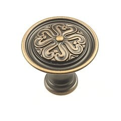 Iris 1-3/8 Inch Diameter Antique Bronze Copper Cabinet Knob