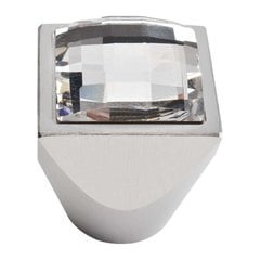 Boutique Crystal 1 Inch Diameter Matte Chrome Cabinet Knob <small>(#3196-MC)</small>