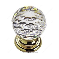 Classic Glass 1-3/16 Inch Diameter Polished Brass,Clear Cabinet Knob