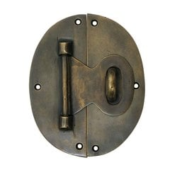 Oval Back Lock with Hook 4 inch L x 5 inch W - Antique Brass