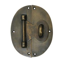 "Oval Back Lock with Hook 4"" L X 5"" W - Antique Brass"