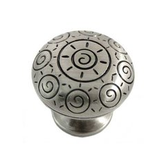 Sunswirl 1-1/4 Inch Diameter Satin Antique Nickel Cabinet Knob
