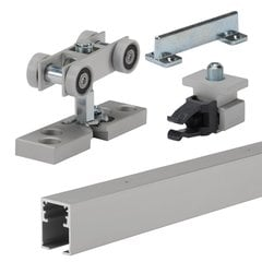 Grant HD Single Sliding Door Track and Hardware Set 8 feet Anodized Aluminum