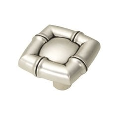 Bamboo 1-1/4 Inch Diameter Satin Antique Silver Cabinet Knob