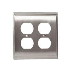 Candler Two Receptacle Wall Plate Satin Nickel