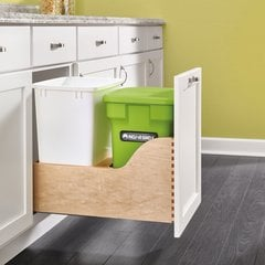 4WCSC Double Pullout Compost Container Green/White/Wood