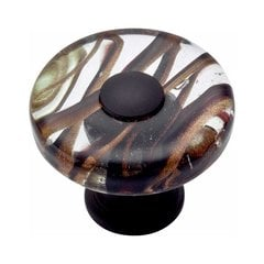 Glass 1-1/2 Inch Diameter Oil Rubbed Bronze Cabinet Knob <small>(#3206-O)</small>