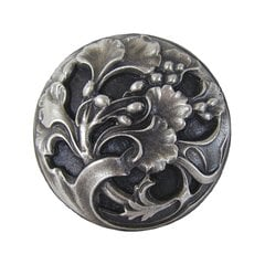 Floral 1-3/8 Inch Diameter Antique Pewter Cabinet Knob