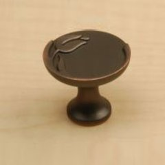 Tulip 1-3/16 Inch Diameter Antique Bronze Copper Cabinet Knob