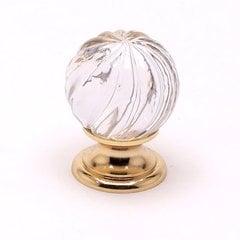 Europa 1-3/16 Inch Diameter Clear Crystal Swirl/Gold Cabinet Knob