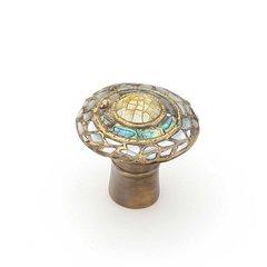 Fair Isle 1-1/8 Inch Diameter Aged Dover Cabinet Knob <small>(#650-AD)</small>