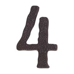 Hammered House Number Four Aged Bronze <small>(#HN4L-O)</small>