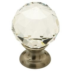 Fire 1-1/8 Inch Diameter Clear Crystal/Satin Nickel Cabinet Knob