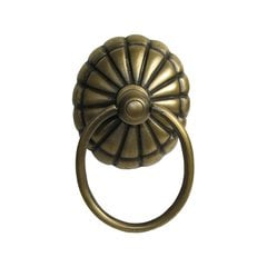 Ring Pulls 2-5/8 Inch Diameter Unlacquered Antique Brass Cabinet Ring Pull