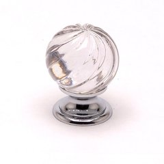 Europa 1-3/16 Inch Diameter Clear Crystal Swirl/Chrome Cabinet Knob