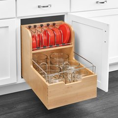 "Food Storage Container Organizer 18"" Wood"