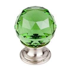 Crystal 1-1/8 Inch Diameter Green Crystal Cabinet Knob <small>(#TK119BSN)</small>