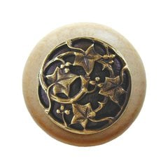 Leaves 1-1/2 Inch Diameter Antique Brass Cabinet Knob